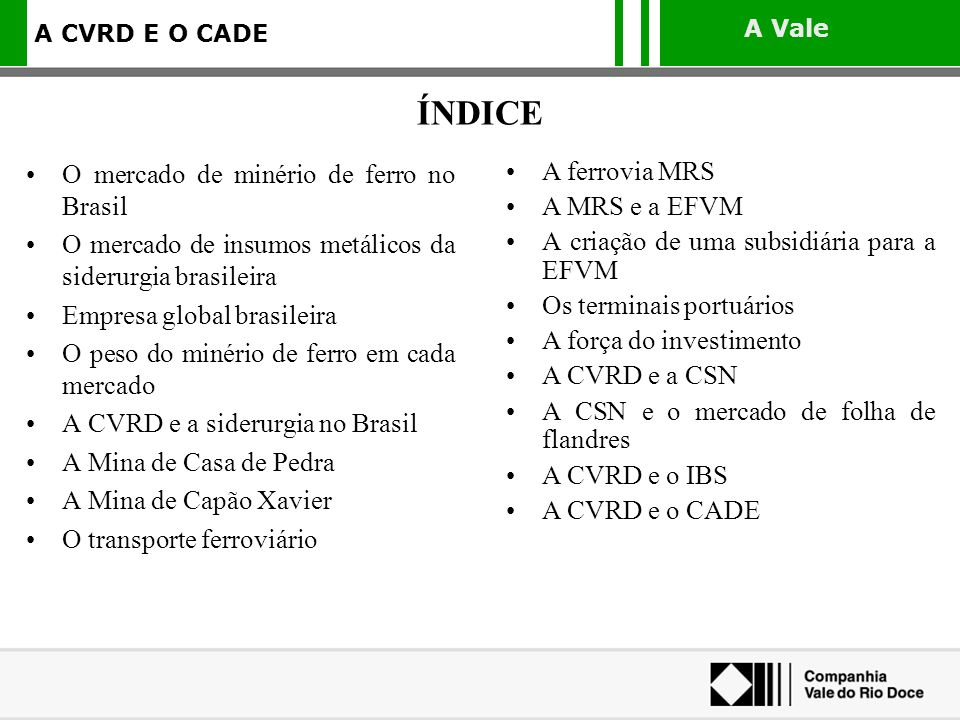 ÍNDICE O mercado de minério de ferro no Brasil