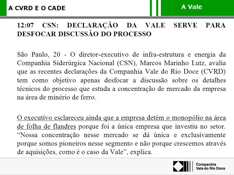 12:07 CSN: DECLARAÇÃO DA VALE SERVE PARA DESFOCAR DISCUSSÃO DO PROCESSO