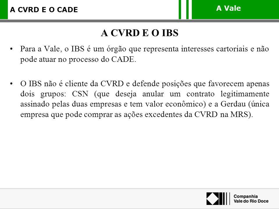 A CVRD E O IBS Para a Vale, o IBS é um órgão que representa interesses cartoriais e não pode atuar no processo do CADE.
