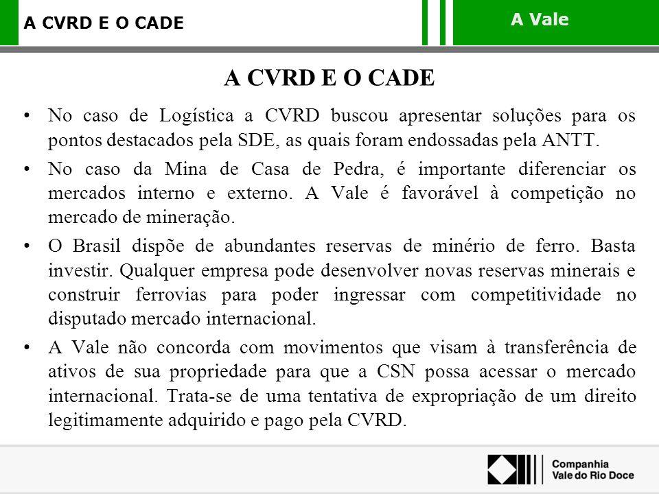A CVRD E O CADE No caso de Logística a CVRD buscou apresentar soluções para os pontos destacados pela SDE, as quais foram endossadas pela ANTT.