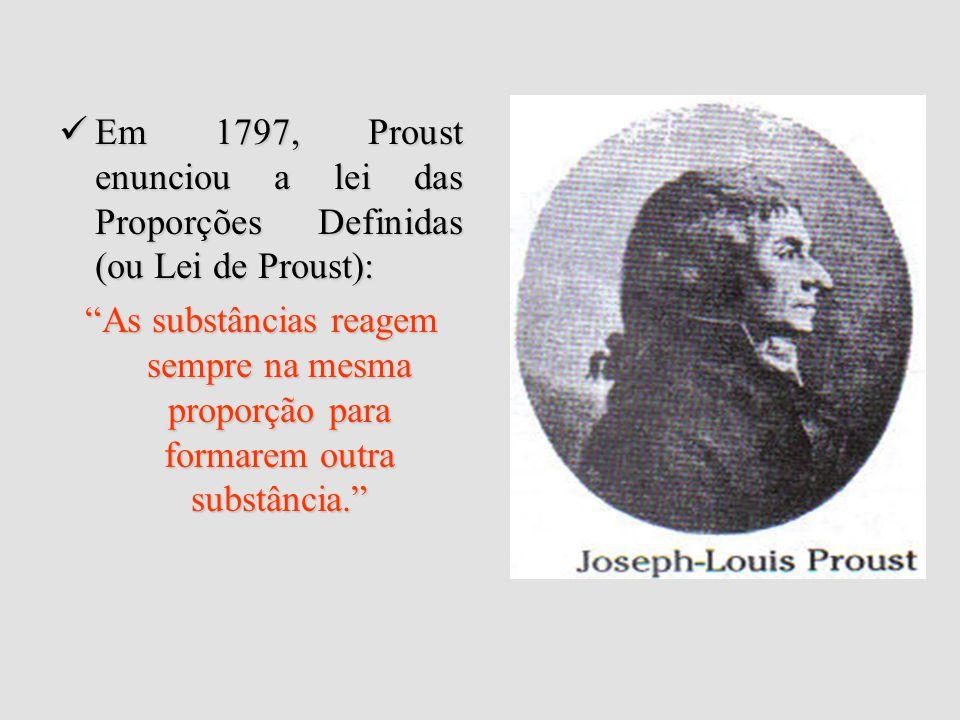 Em 1797, Proust enunciou a lei das Proporções Definidas (ou Lei de Proust):