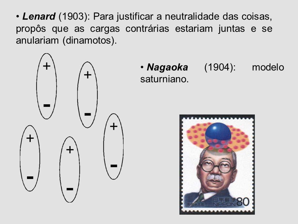 Lenard (1903): Para justificar a neutralidade das coisas, propôs que as cargas contrárias estariam juntas e se anulariam (dinamotos).