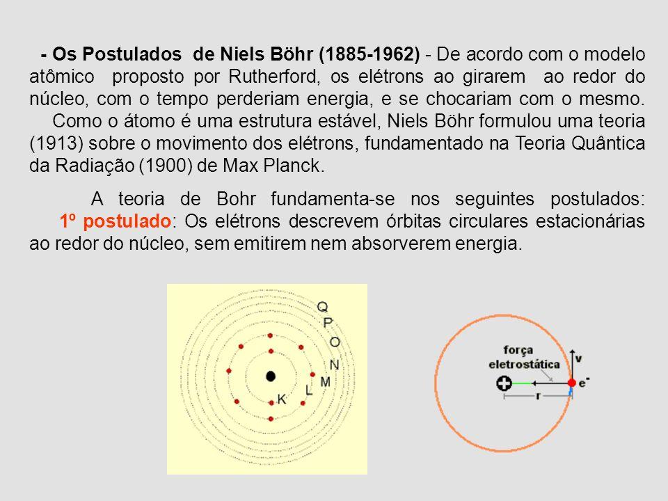 - Os Postulados de Niels Böhr (1885-1962) - De acordo com o modelo atômico proposto por Rutherford, os elétrons ao girarem ao redor do núcleo, com o tempo perderiam energia, e se chocariam com o mesmo. Como o átomo é uma estrutura estável, Niels Böhr formulou uma teoria (1913) sobre o movimento dos elétrons, fundamentado na Teoria Quântica da Radiação (1900) de Max Planck.