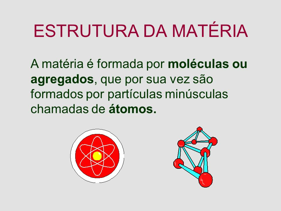ESTRUTURA DA MATÉRIA A matéria é formada por moléculas ou agregados, que por sua vez são formados por partículas minúsculas chamadas de átomos.
