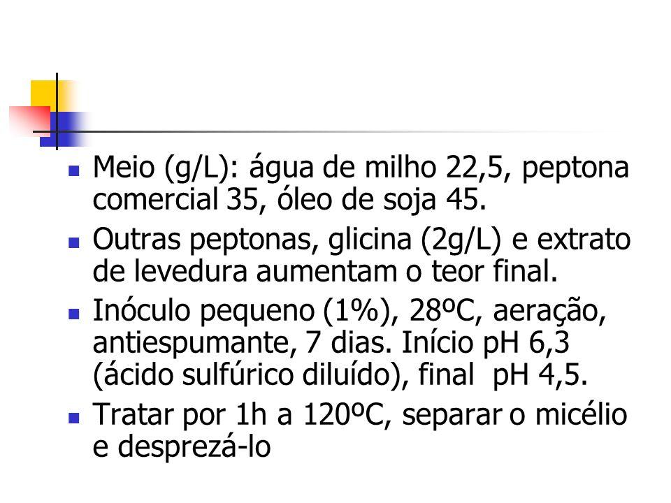Meio (g/L): água de milho 22,5, peptona comercial 35, óleo de soja 45.