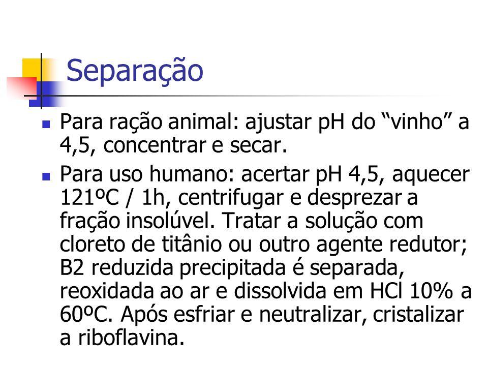 Separação Para ração animal: ajustar pH do vinho a 4,5, concentrar e secar.