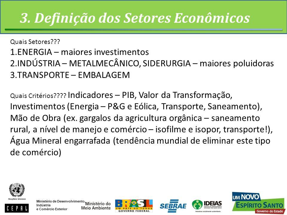 3. Definição dos Setores Econômicos