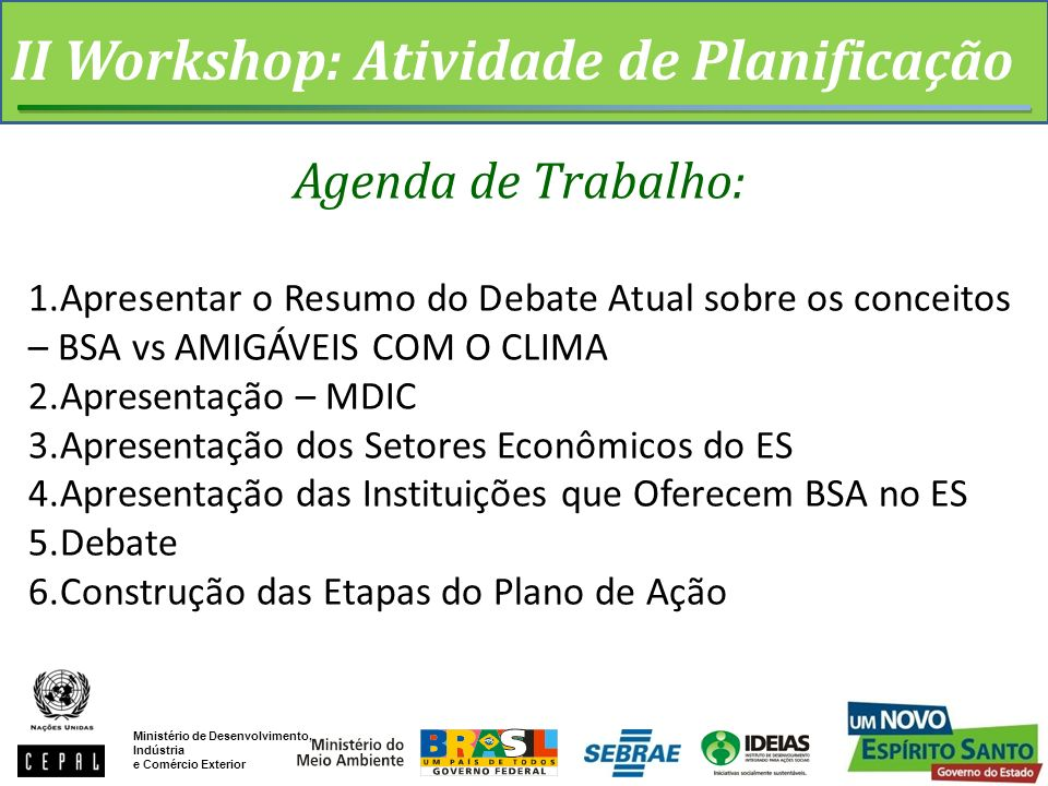 II Workshop: Atividade de Planificação