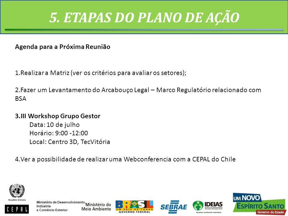 5. ETAPAS DO PLANO DE AÇÃO Agenda para a Próxima Reunião