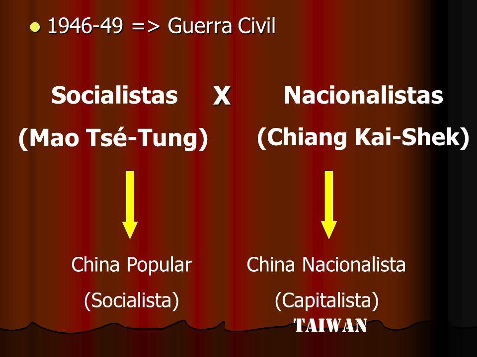 X Socialistas (Mao Tsé-Tung) Nacionalistas (Chiang Kai-Shek)