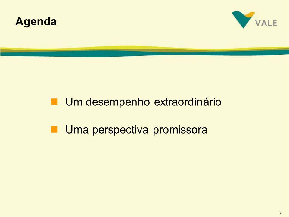 Agenda Um desempenho extraordinário Uma perspectiva promissora