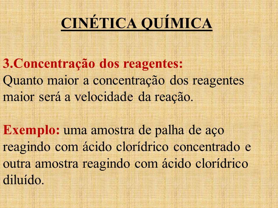 CINÉTICA QUÍMICA 3.Concentração dos reagentes: