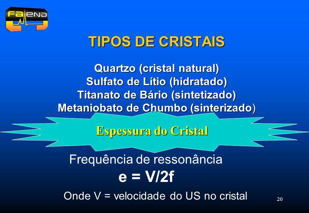 TIPOS DE CRISTAIS Espessura do Cristal