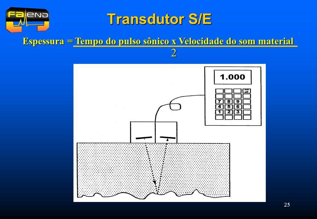 Transdutor S/E Espessura = Tempo do pulso sônico x Velocidade do som material 2