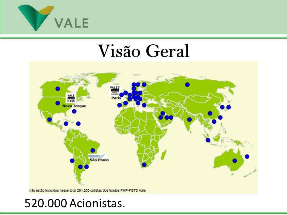 Visão Geral 520.000 Acionistas.