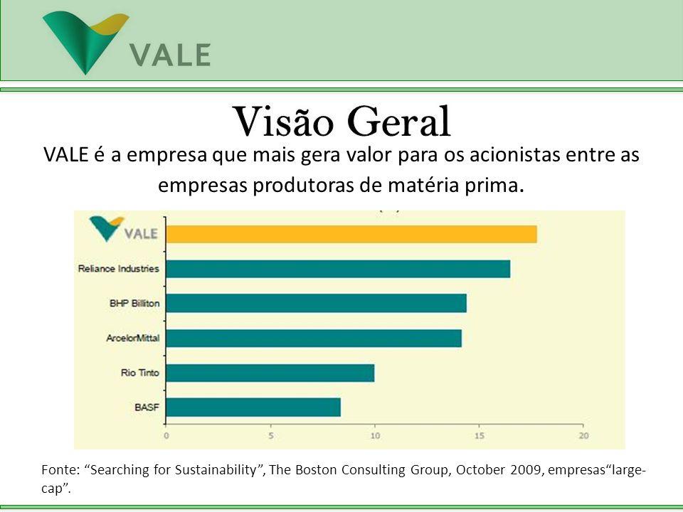 Visão Geral VALE é a empresa que mais gera valor para os acionistas entre as empresas produtoras de matéria prima.