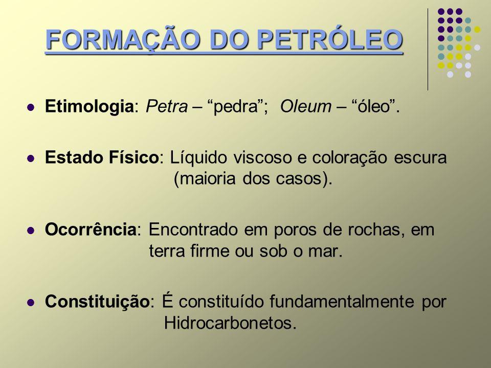 FORMAÇÃO DO PETRÓLEO Etimologia: Petra – pedra ; Oleum – óleo .