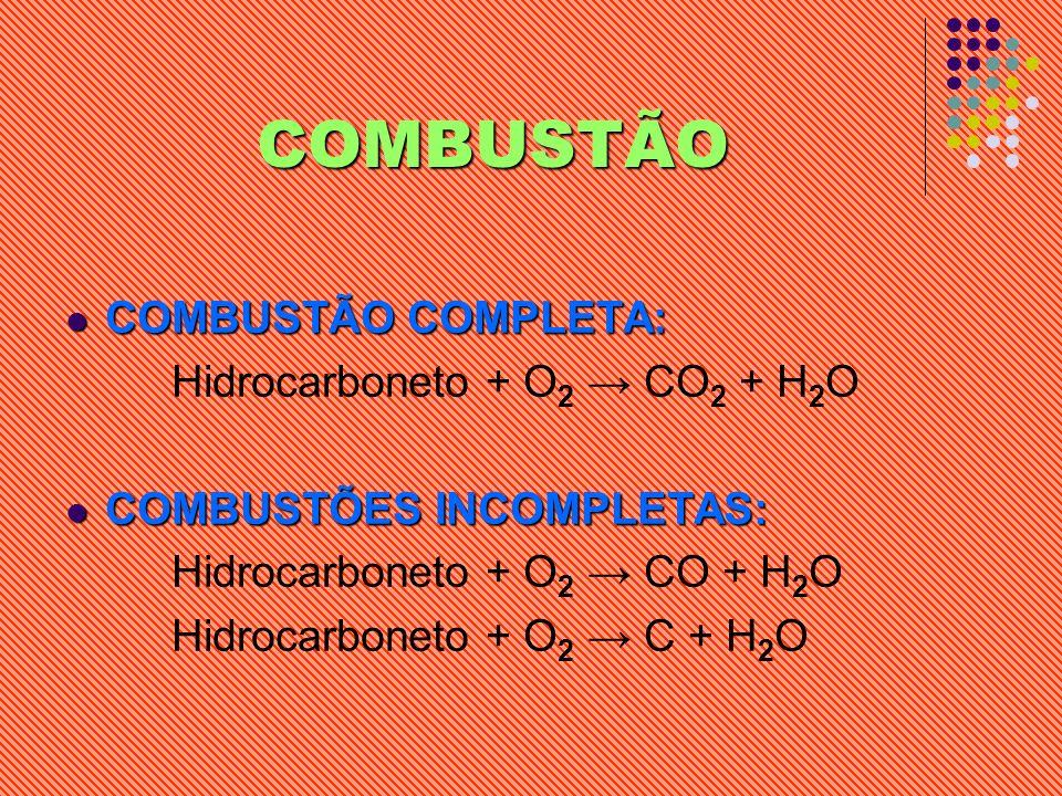 COMBUSTÃO COMBUSTÃO COMPLETA: Hidrocarboneto + O2 → CO2 + H2O