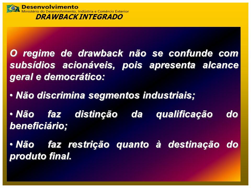 Não discrimina segmentos industriais;
