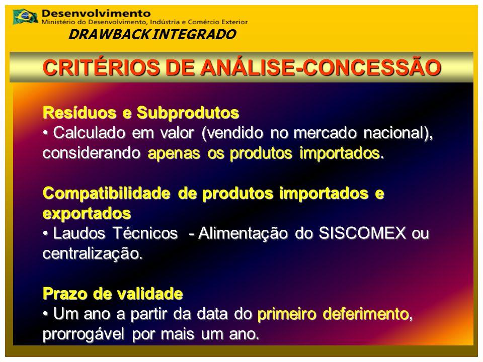 CRITÉRIOS DE ANÁLISE-CONCESSÃO
