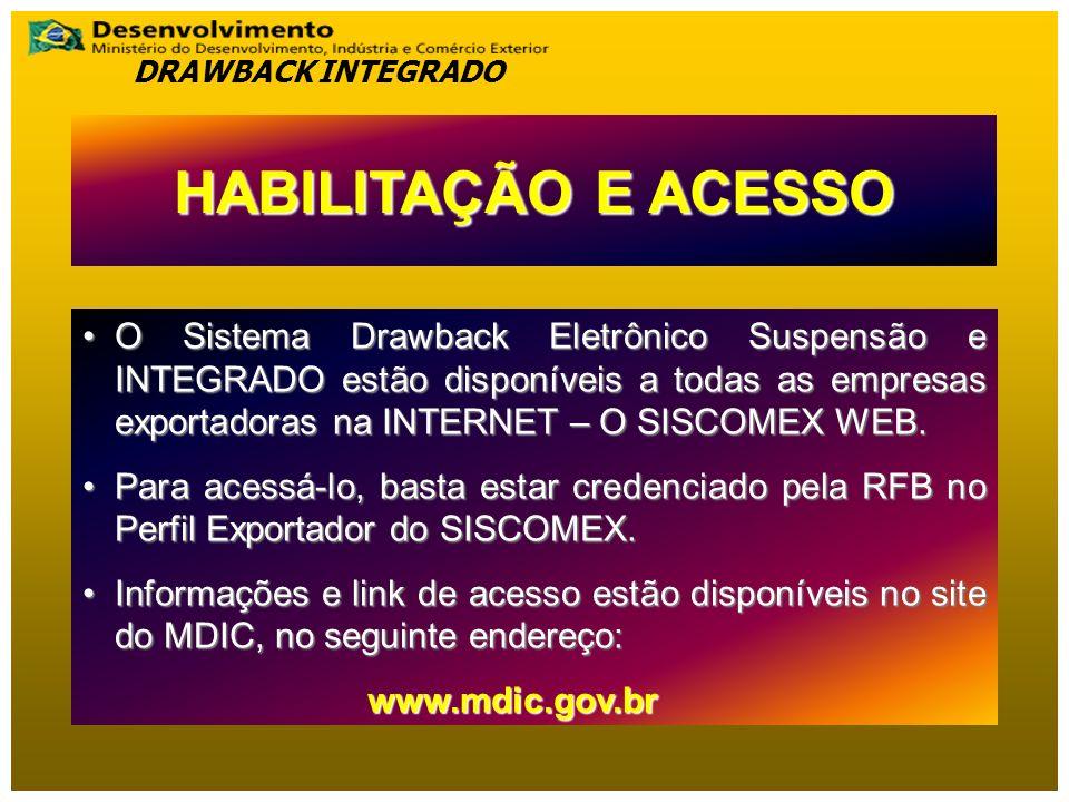 DRAWBACK INTEGRADO HABILITAÇÃO E ACESSO.