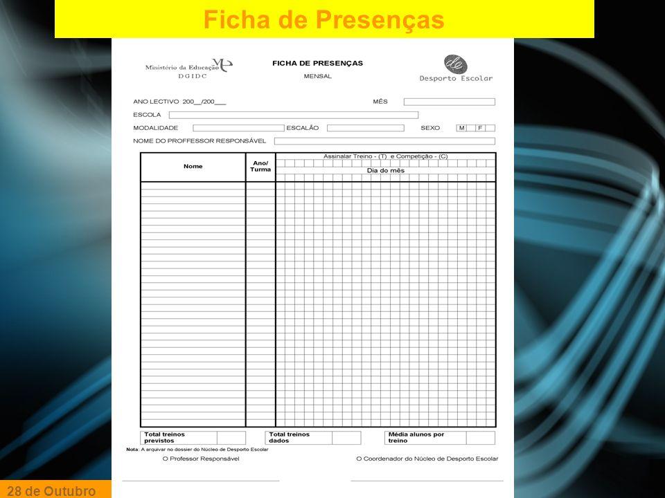 Ficha de Presenças 28 de Outubro