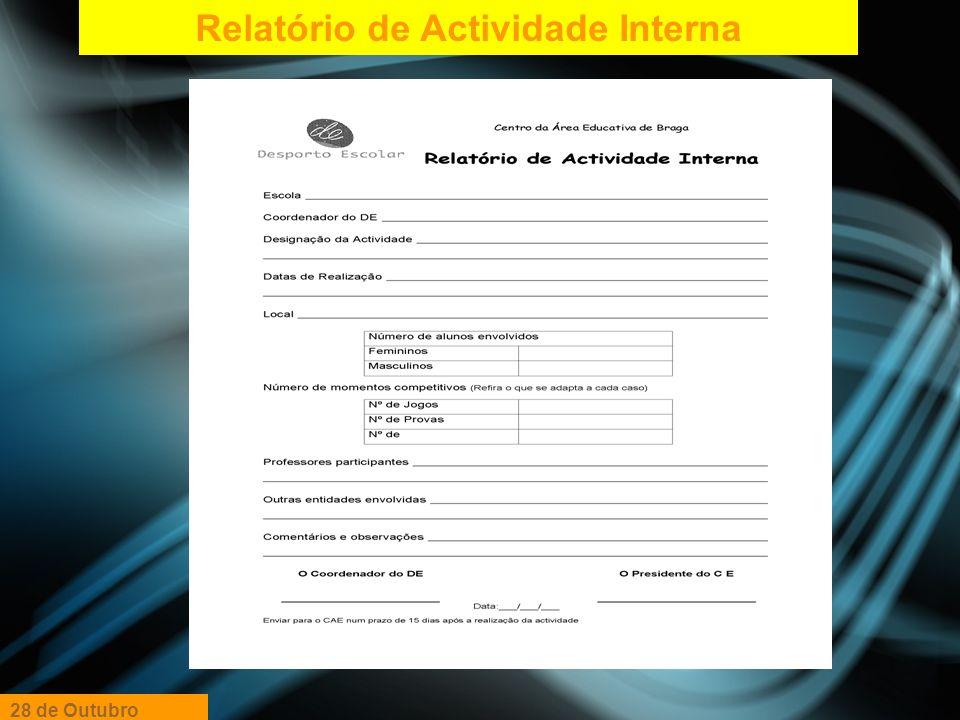 Relatório de Actividade Interna