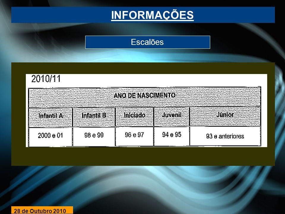 INFORMAÇÕES Escalões 28 de Outubro 2010