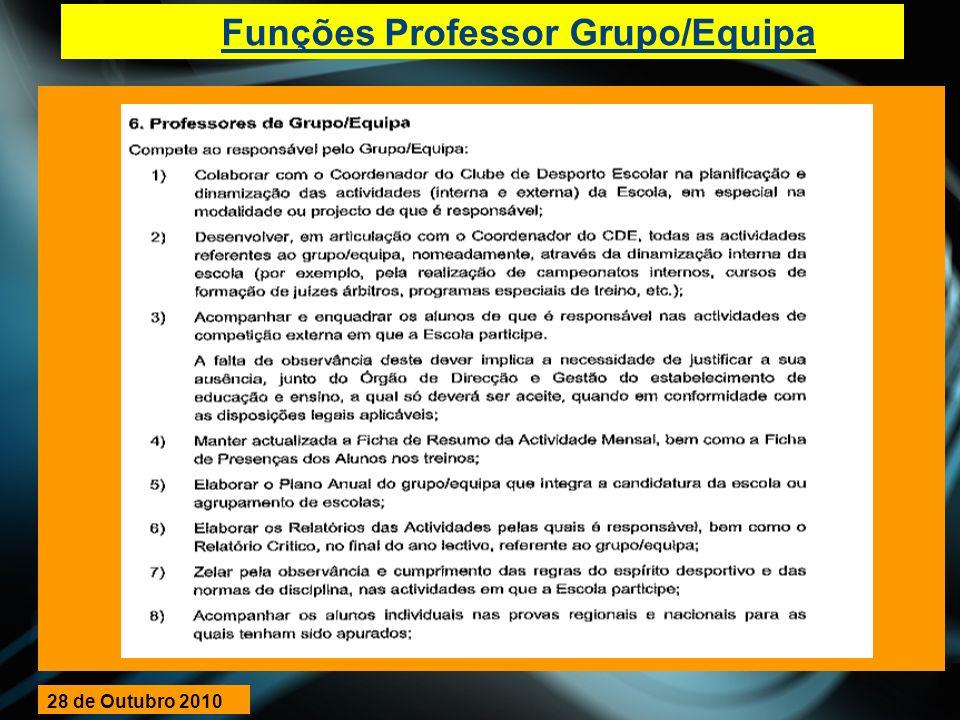 Funções Professor Grupo/Equipa