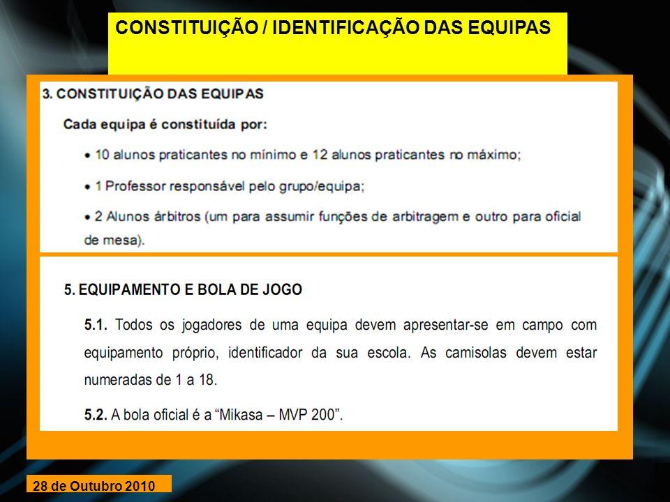 CONSTITUIÇÃO / IDENTIFICAÇÃO DAS EQUIPAS