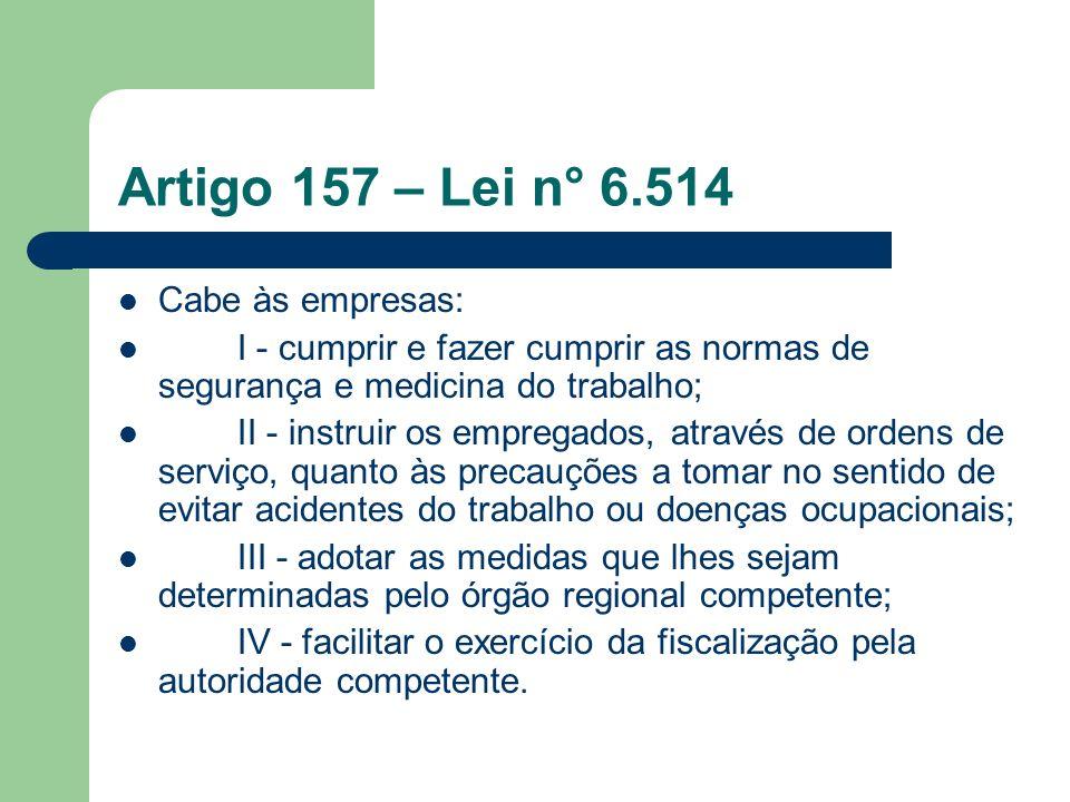 Artigo 157 – Lei n° 6.514 Cabe às empresas: