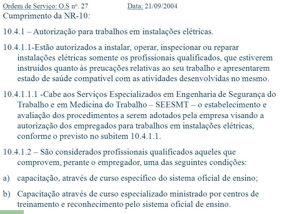 10.4.1 – Autorização para trabalhos em instalações elétricas.