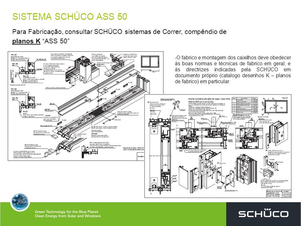 SISTEMA SCHÜCO ASS 50 Para Fabricação, consultar SCHÜCO sistemas de Correr, compêndio de planos K ASS 50