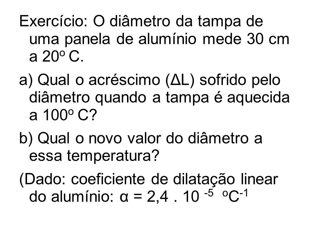Exercício: O diâmetro da tampa de uma panela de alumínio mede 30 cm a 20o C.