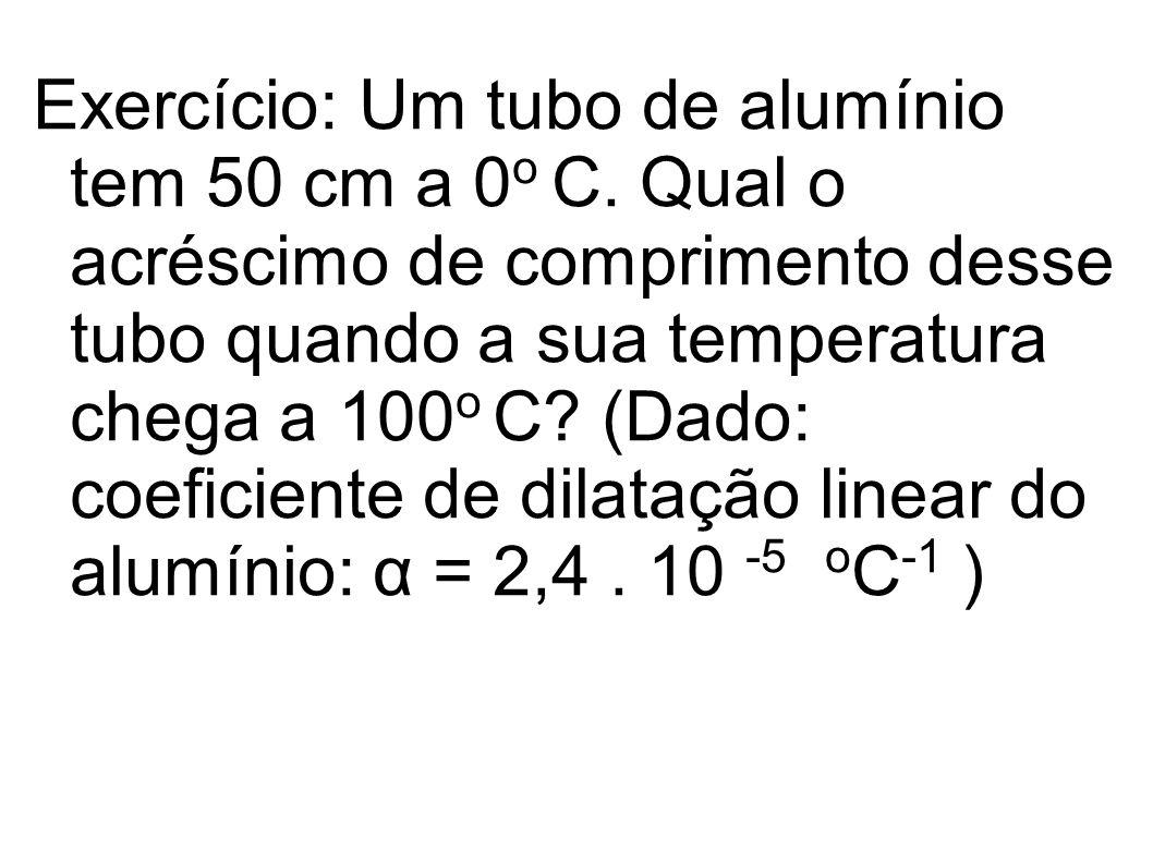 Exercício: Um tubo de alumínio tem 50 cm a 0o C