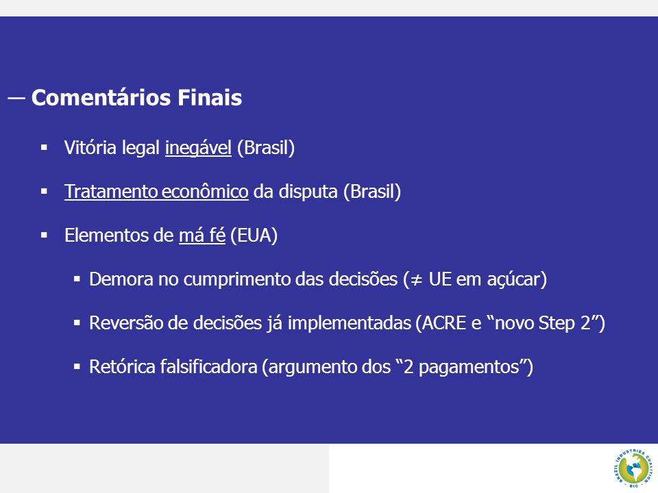 Comentários Finais Vitória legal inegável (Brasil)
