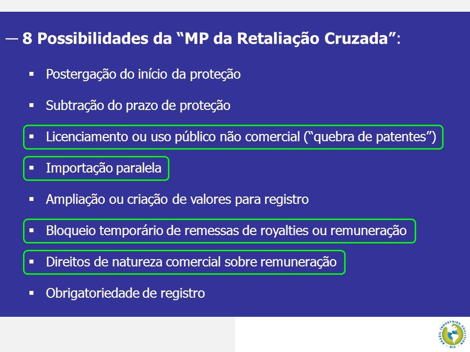 8 Possibilidades da MP da Retaliação Cruzada :