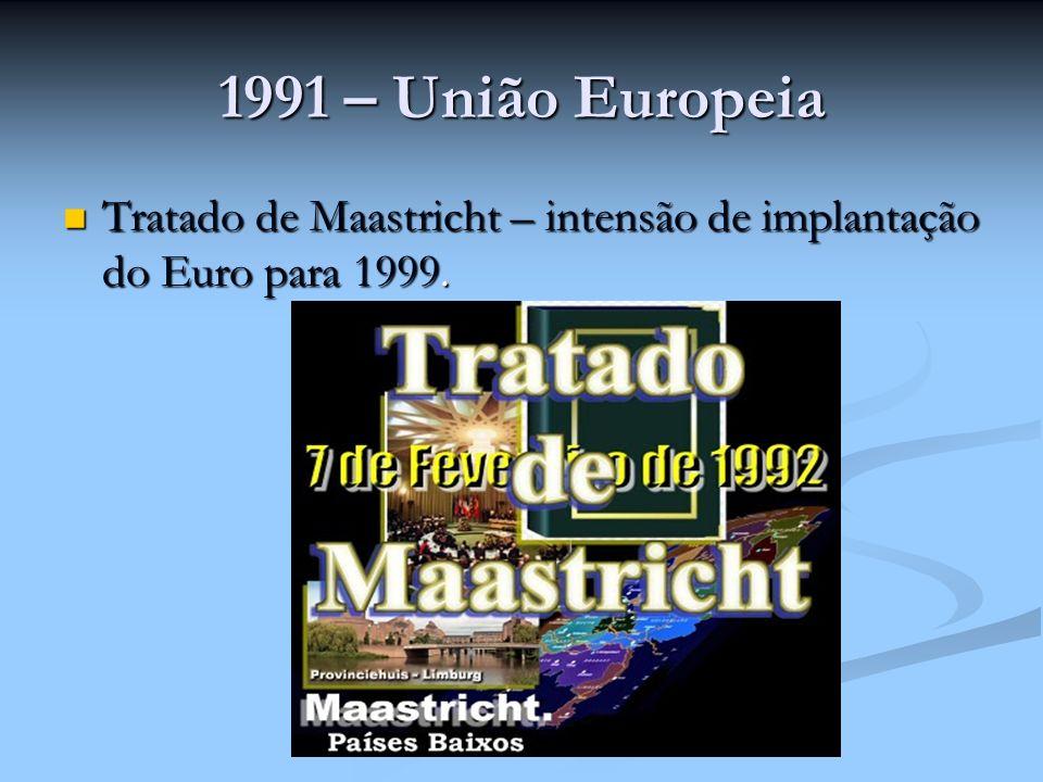 1991 – União Europeia Tratado de Maastricht – intensão de implantação do Euro para 1999.
