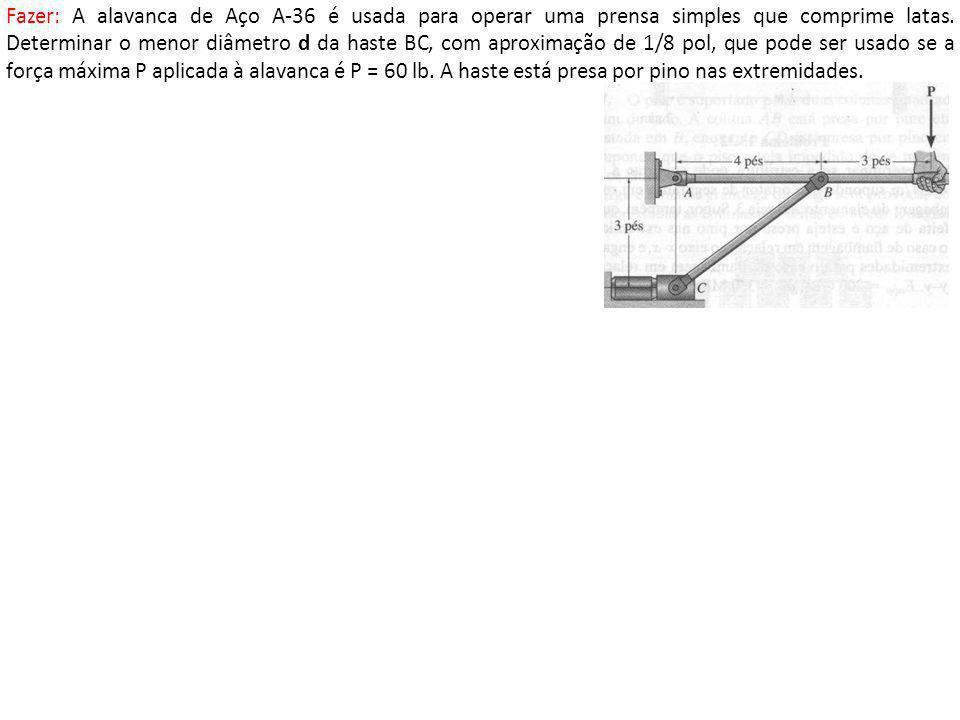 Fazer: A alavanca de Aço A-36 é usada para operar uma prensa simples que comprime latas.