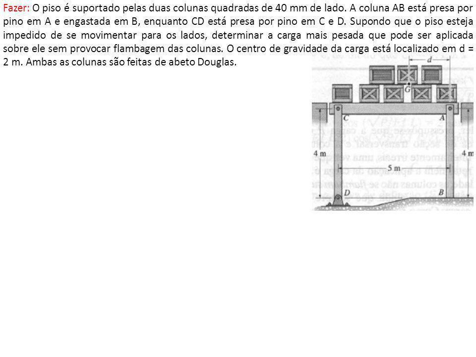 Fazer: O piso é suportado pelas duas colunas quadradas de 40 mm de lado.