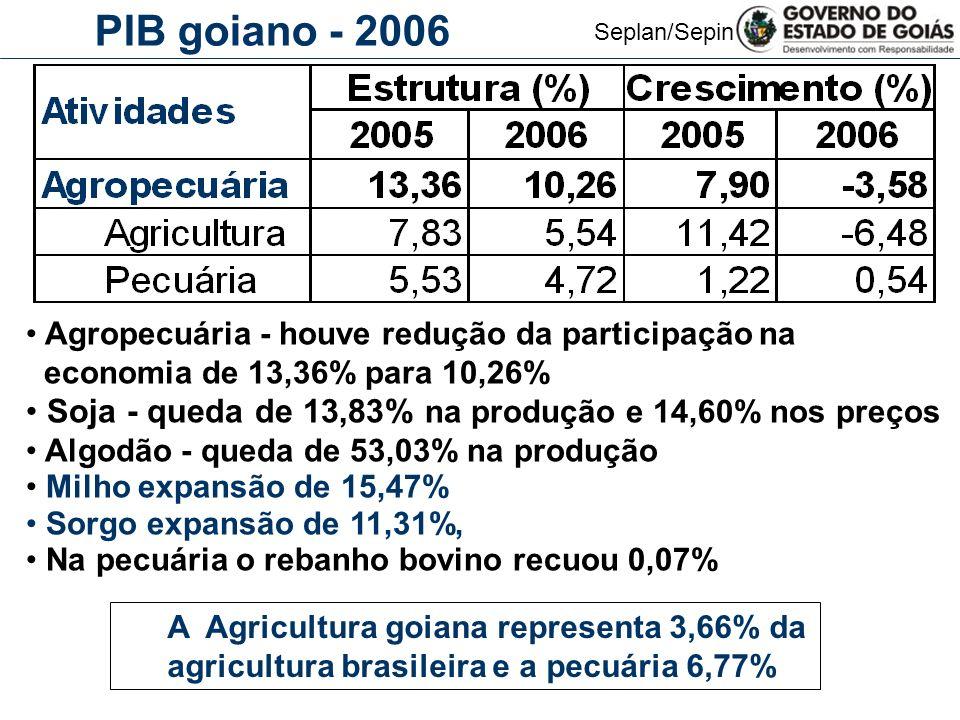 PIB goiano - 2006 Agropecuária - houve redução da participação na. economia de 13,36% para 10,26%