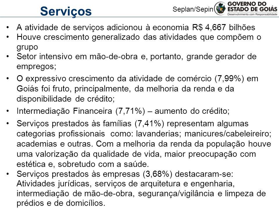 Serviços A atividade de serviços adicionou à economia R$ 4,667 bilhões