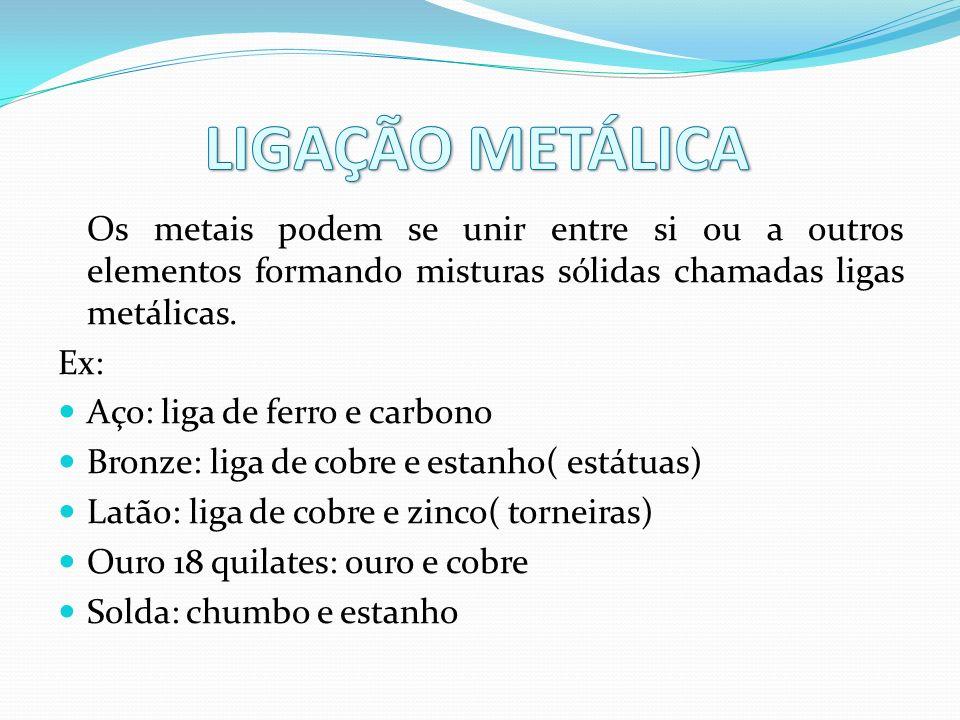 LIGAÇÃO METÁLICA Os metais podem se unir entre si ou a outros elementos formando misturas sólidas chamadas ligas metálicas.