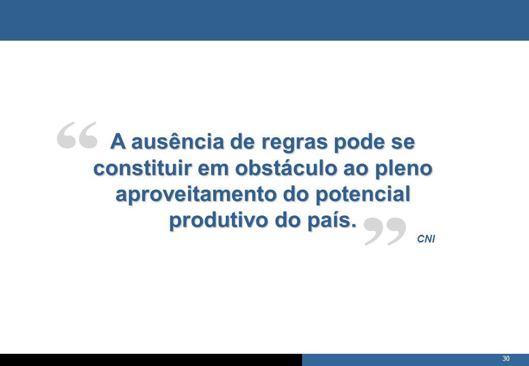 A ausência de regras pode se constituir em obstáculo ao pleno aproveitamento do potencial produtivo do país.