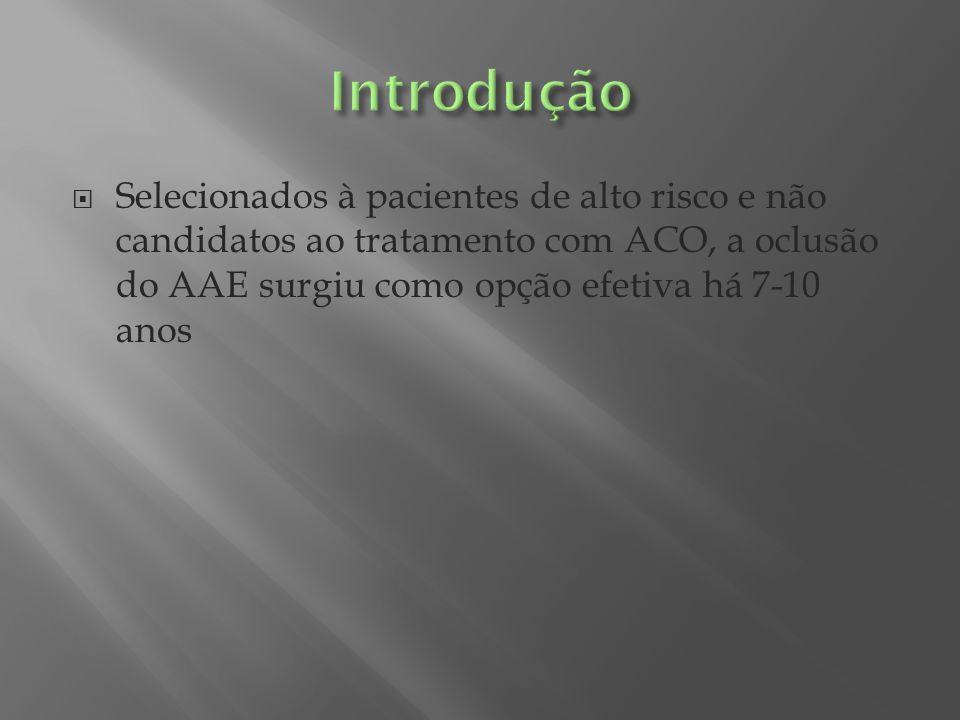 Introdução Selecionados à pacientes de alto risco e não candidatos ao tratamento com ACO, a oclusão do AAE surgiu como opção efetiva há 7-10 anos.