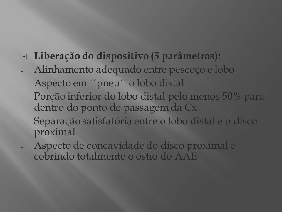 Liberação do dispositivo (5 parâmetros):