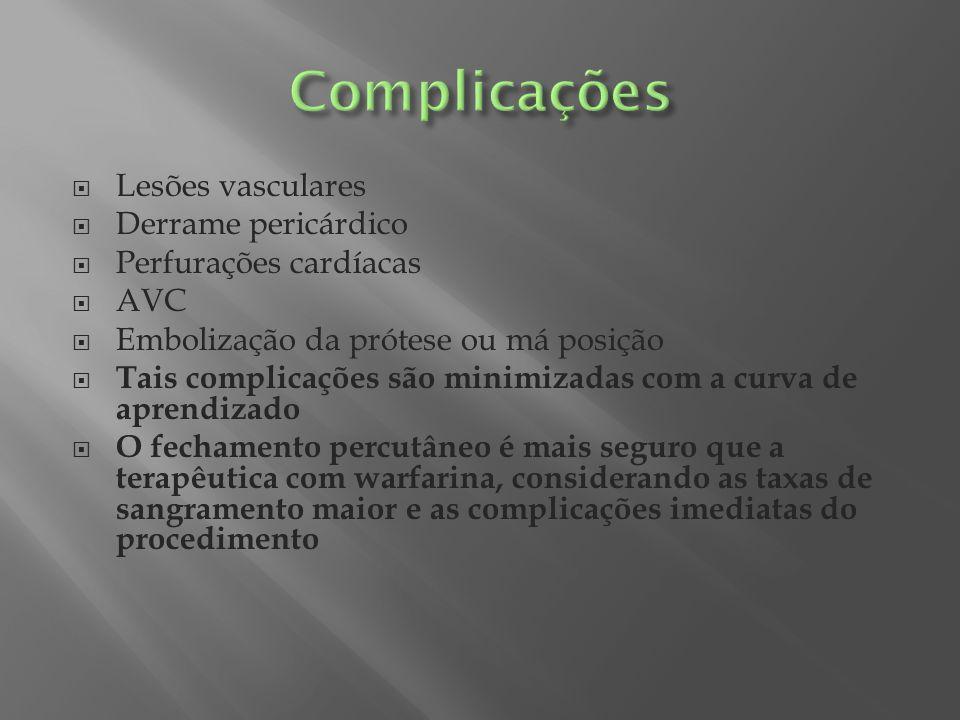 Complicações Lesões vasculares Derrame pericárdico