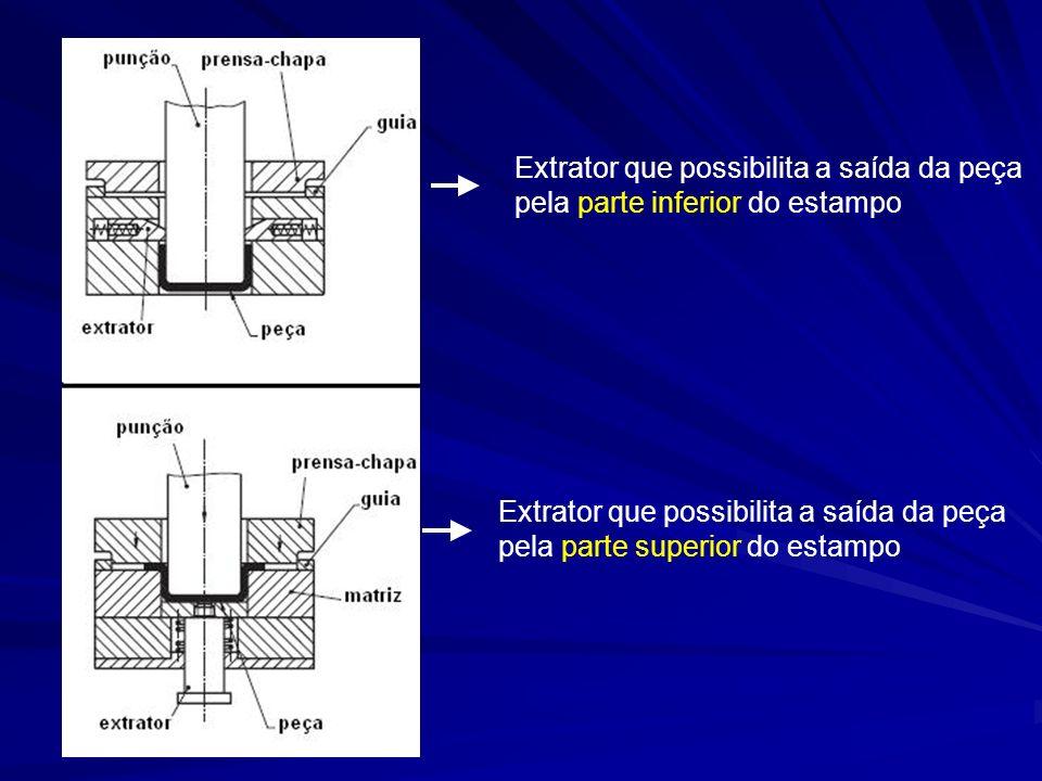 Extrator que possibilita a saída da peça pela parte inferior do estampo