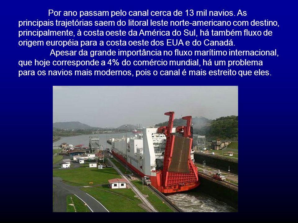 Por ano passam pelo canal cerca de 13 mil navios