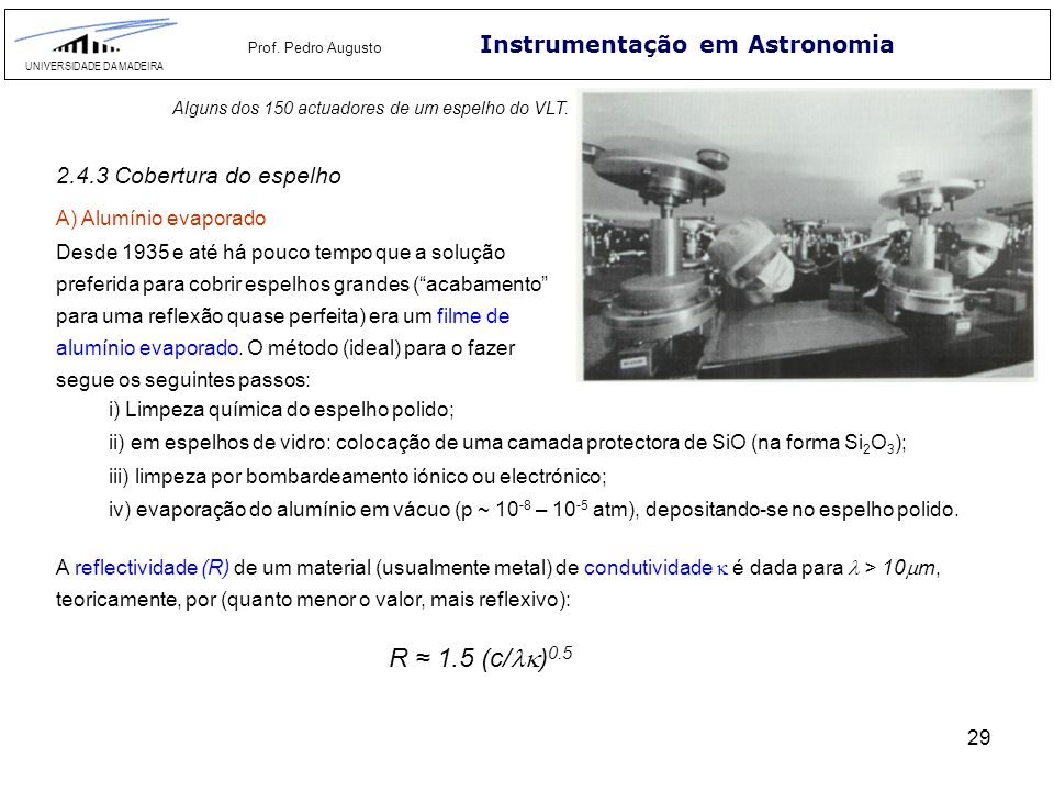 2.2 Desbaste Instrumentação em Astronomia